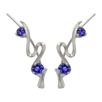 Silver Tanzanite Twist Ear Climber
