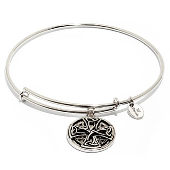 Celtic Cross Silver Bangle