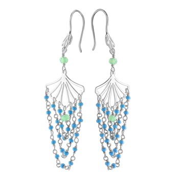 Turquoise & Chalcedony Earrings-210-580