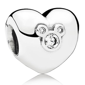PANDORA Disney Heart of Mickey with Clear CZ Charm RETIRED 802-858