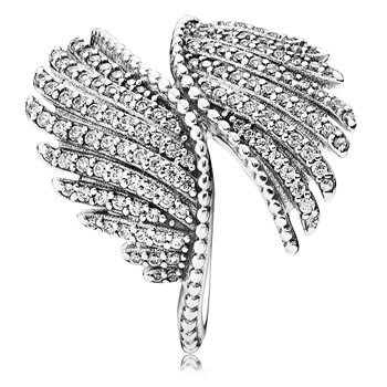 PANDORA Majestic Feathers with Clear CZ Ring