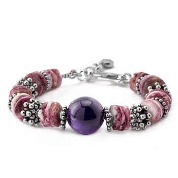 Spiny Oyster and Amethyst Bracelet