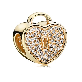PANDORA 14K Heart Lock with Clear CZ Charm-806-60