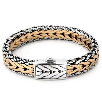 SS and Bronze Chevron Link Bracelet-342806