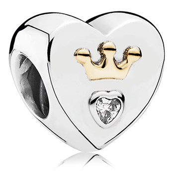 PANDORA Majestic Heart with 14K and Clear CZ Charm-802-3088