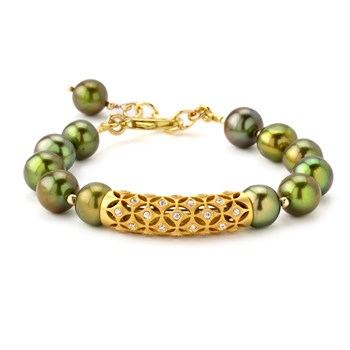 Lollies Green Pearl Bracelet