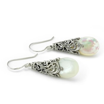 Openwork Mother of Pearl Earrings-645-3198