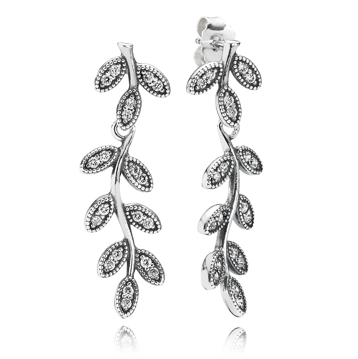 348116-PANDORA Sparkling Leaves with Clear CZ Dangle Earrings