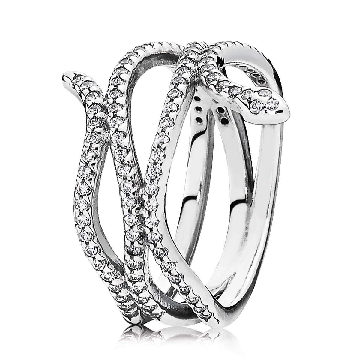 PANDORA Swirling Snake with Clear CZ Ring