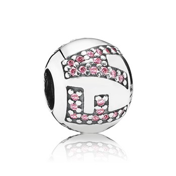 348031-PANDORA Surrounded by FAITH with Pink CZ Charm RETIRED LIMITED QUANTITIES!