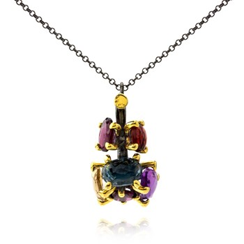 Multi-Color Pendant Necklace-655-3428