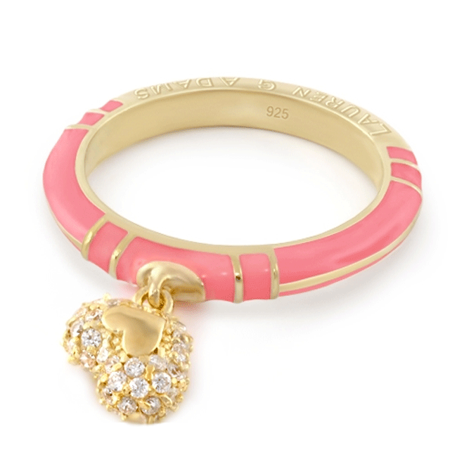 343741-Pink 'Layers of Love' Contempo Pave Heart Ring
