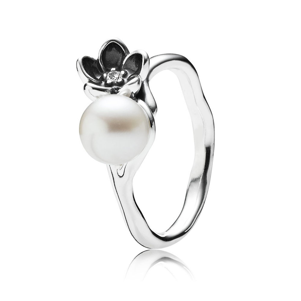 PANDORA Mystic Floral with White Pearl, Clear CZ and Black Enamel Ring RETIRED