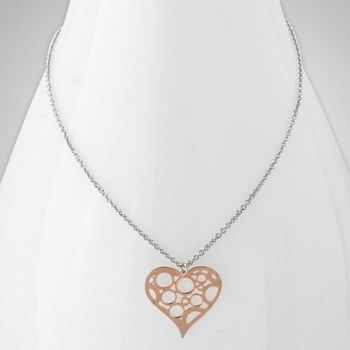 343266-Rose Rhodium Heart Necklace ONLY 1 LEFT!