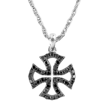341557-Black Diamond Maltese Cross Pendant