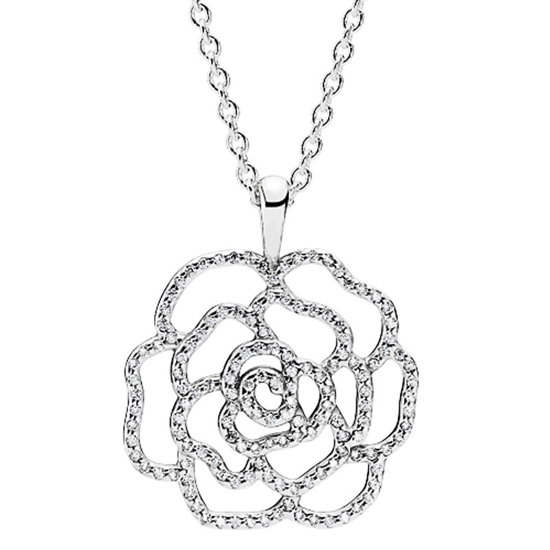 801-665-PANDORA Shimmering Rose with Clear CZ Necklace