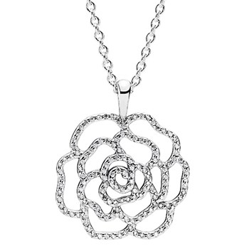 PANDORA Shimmering Rose with Clear CZ Necklace-801-665