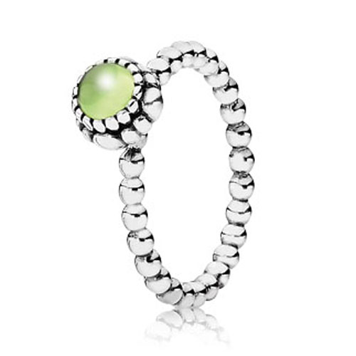 PANDORA Peridot August Birthday Bloom Stackable Ring