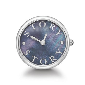 STORY by Kranz & Ziegler Sterling Silver Script Clock Button