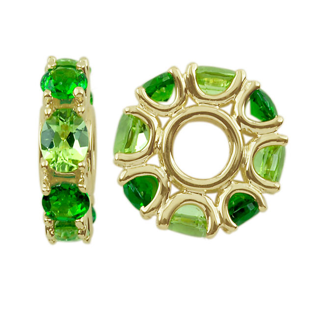 304276-Storywheels Peridot & Chrome Diopside 14K Gold Wheel ONLY 2 AVAILABLE!