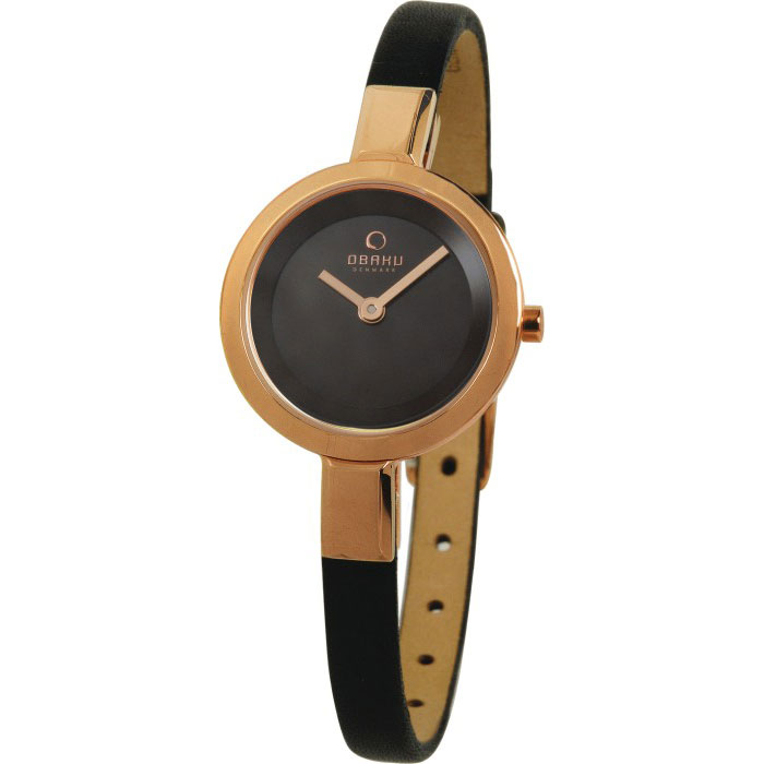 500-21-Obaku Women's Stainless Steel and Brown Leather Watch