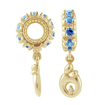 Storywheels Swiss Blue Topaz & Diamond Mother & Child Dangle 14K Gold Wheel RETIRED ONLY 1 LEFT!-265256