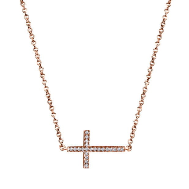 342423-Rose Gold Plated Cross Necklace