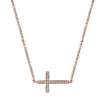 Rose Gold Cross Necklace-342423