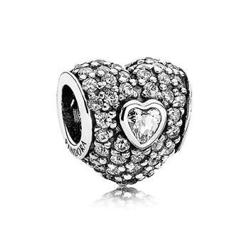 PANDORA In My Heart with Clear CZ Charm-343441