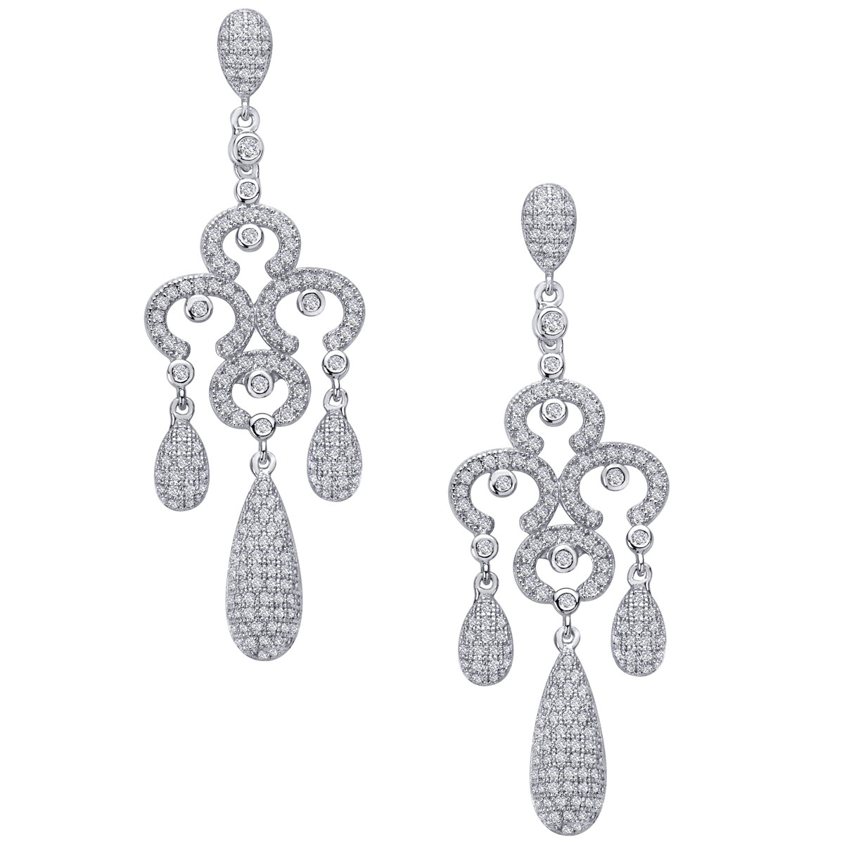 -Clear CZ Chandelier Earrings