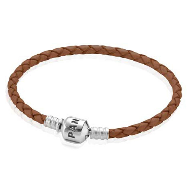 PANDORA Brown Single Braided Leather Bracelet RETIRED