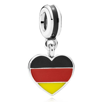 802-3015-PANDORA Germany Heart Flag with Enamel Dangle