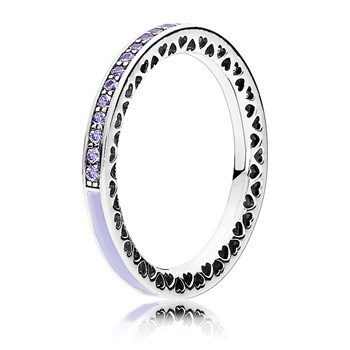 PANDORA Radiant Hearts of PANDORA with Lavender Enamel & CZ Ring