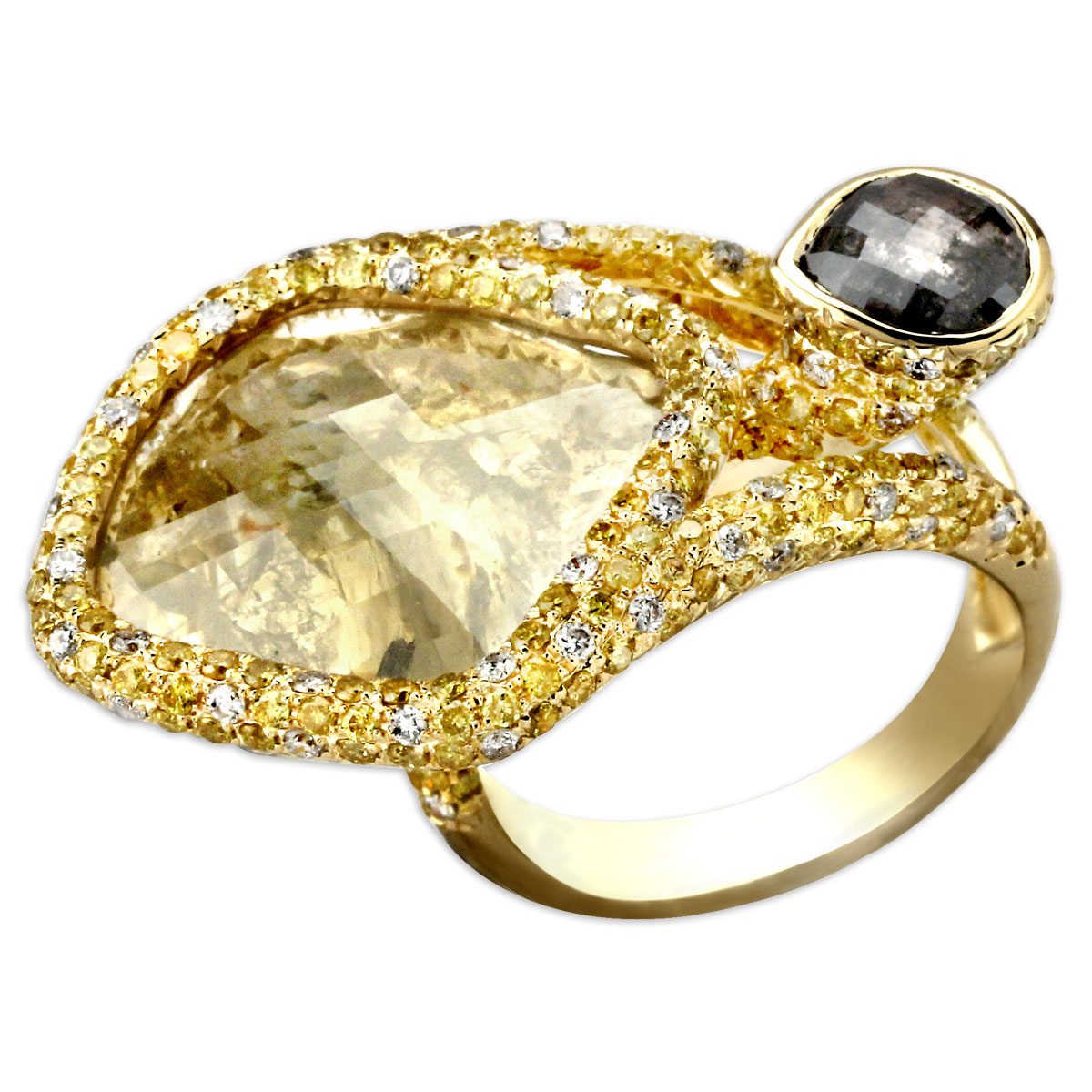 340048-Raw Diamond & Gold Ring