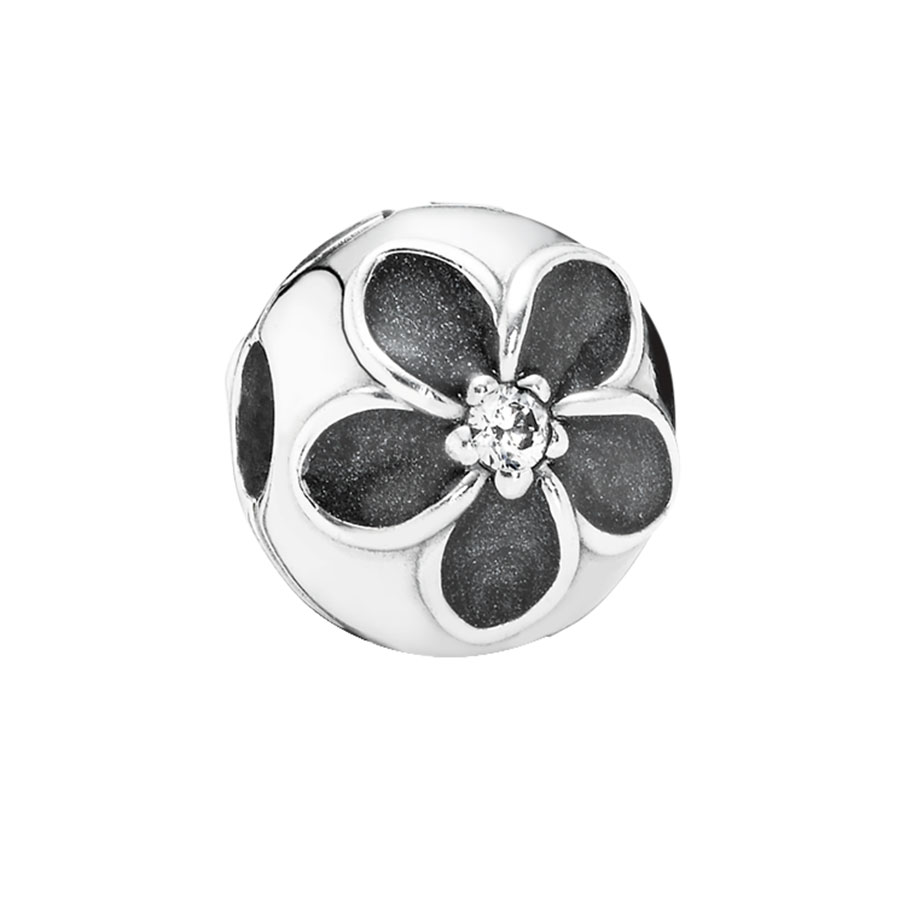 348025-PANDORA Mystic Floral with Clear CZ and Enamel Clip