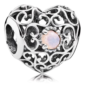 PANDORA October Signature Heart with Opalescent Pink Crystal Charm-802-3104