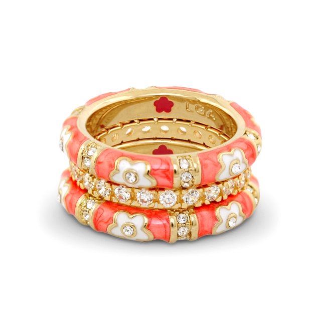 Coral 'Daisy Love' Ring Set