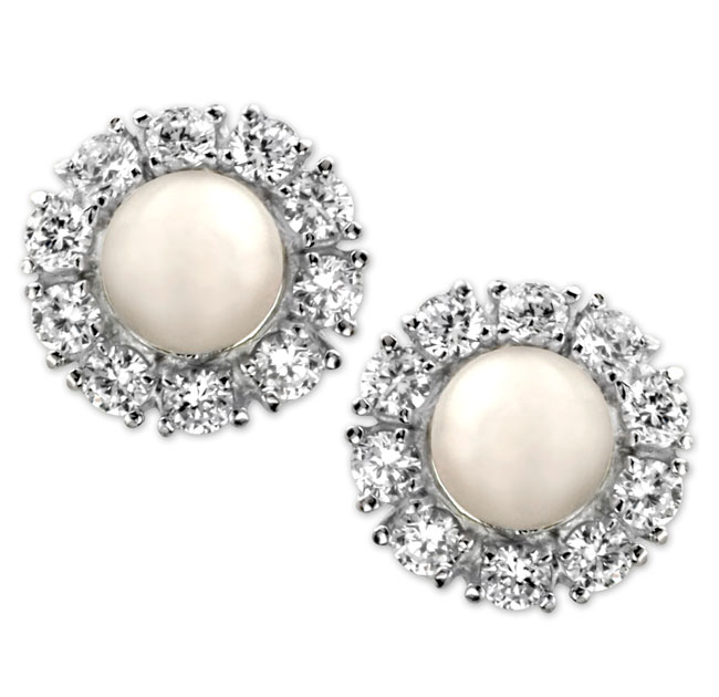 337906-Pearl & CZ Earrings ONLY 1 PAIR LEFT!