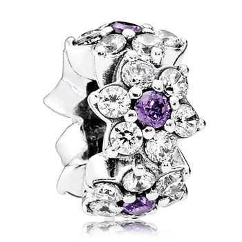 PANDORA Forget Me Not with Purple and Clear CZ Spacer
