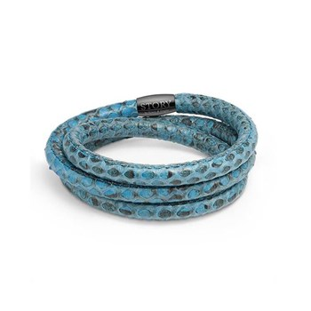 STORY by Kranz & Ziegler Triple Wrap Light Blue Snakeskin Bracelet PRE-ORDER