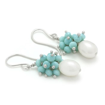210-675-Pearl & Amazonite Earrings