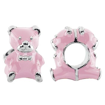 333728-Storywheels Pink Enamel Teddy Bear Sterling Silver Charm ONLY 1 AVAILABLE!