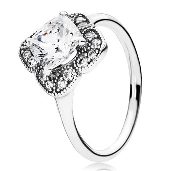 PANDORA Crystalized Floral Fancy with Clear CZ Ring