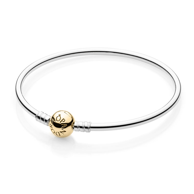 PANDORA Sterling Silver with 14K Barrel Clasp Bangle Bracelet