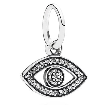 PANDORA Symbol of Insight Evil Eye with Clear CZ Pendant RETIRED 348246