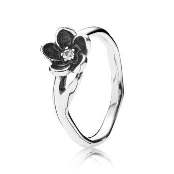 PANDORA Mystic Floral with Clear CZ and Black Enamel Ring RETIRED LIMITED QUANTITIES!