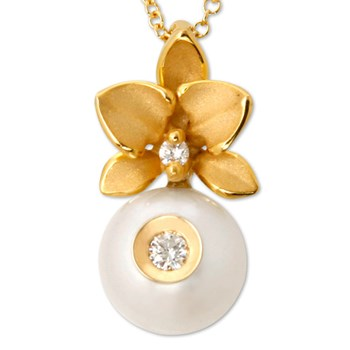 333879-Galatea Lotus with Diamond and White Freshwater Pearl Necklace
