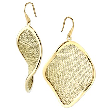 Gold Wavy Mesh Earrings-343920