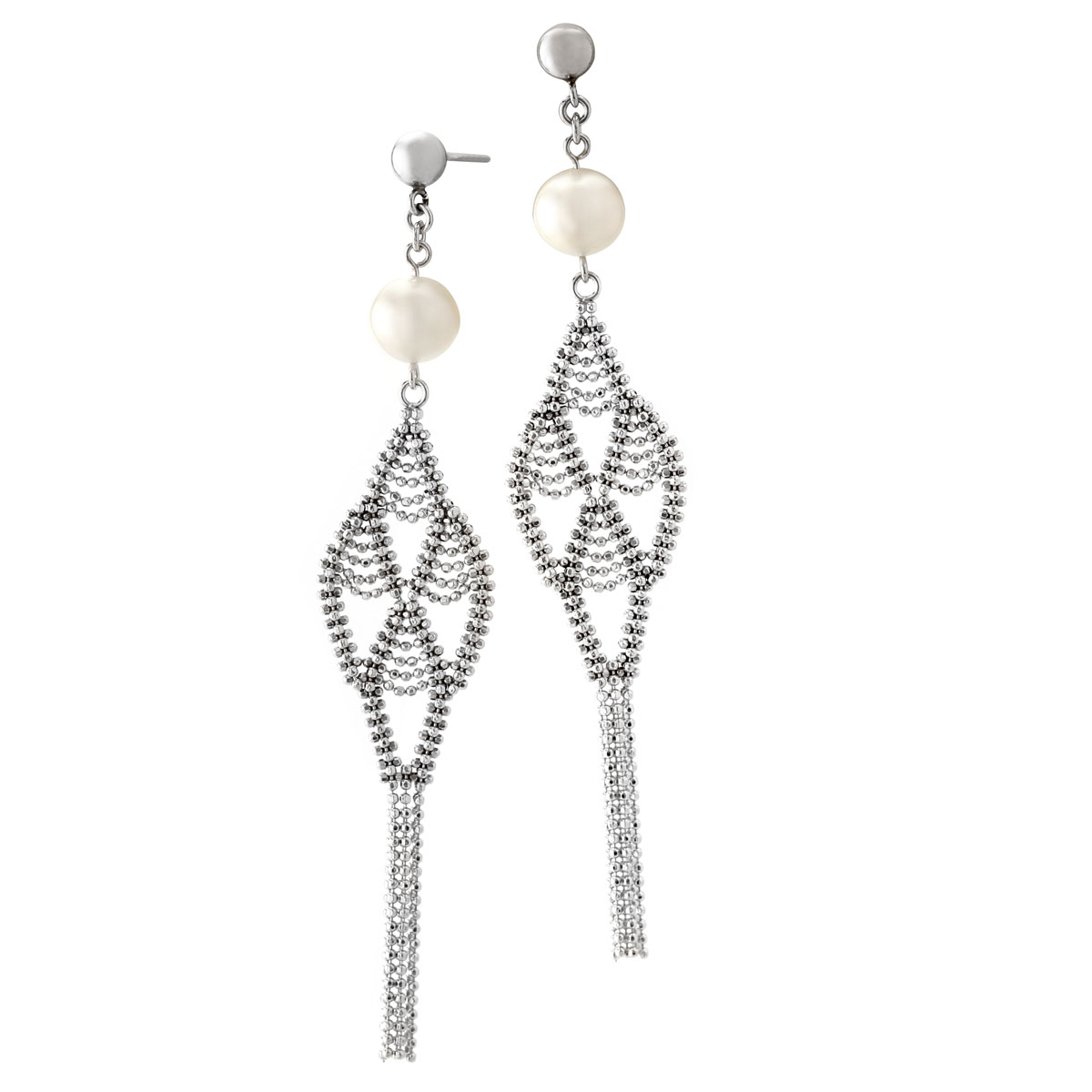 341329-Silver Lace and Pearl Earrings