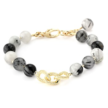 Lollies Black Rutilated Quartz Chainlink Bracelet 345898